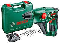 Аккумуляторный перфоратор Bosch Uneo 12В + A1115CV + акб PBA18V2,5Ah + патрон + набор буров и бит + чемодан (0603984027)