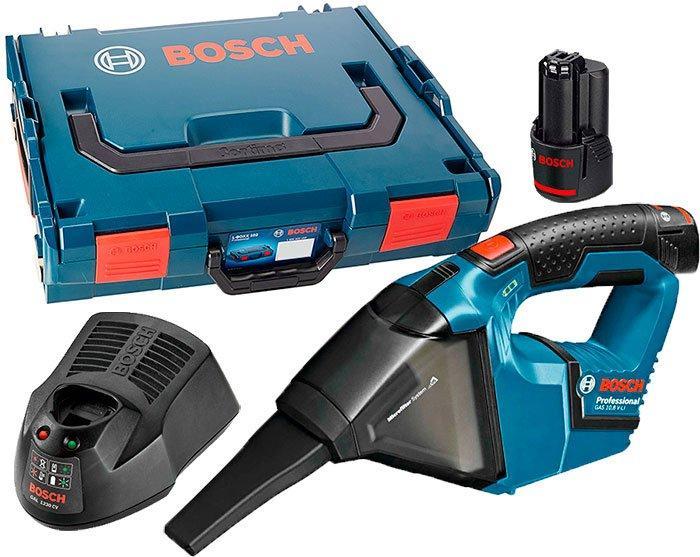 Аккумуляторный пылесос Bosch GAS 12 V Professional  з/у GAL 1230 CV + 2 x акб GBA 12V 2 Ah + чемодан L-boxx (06019E3022)