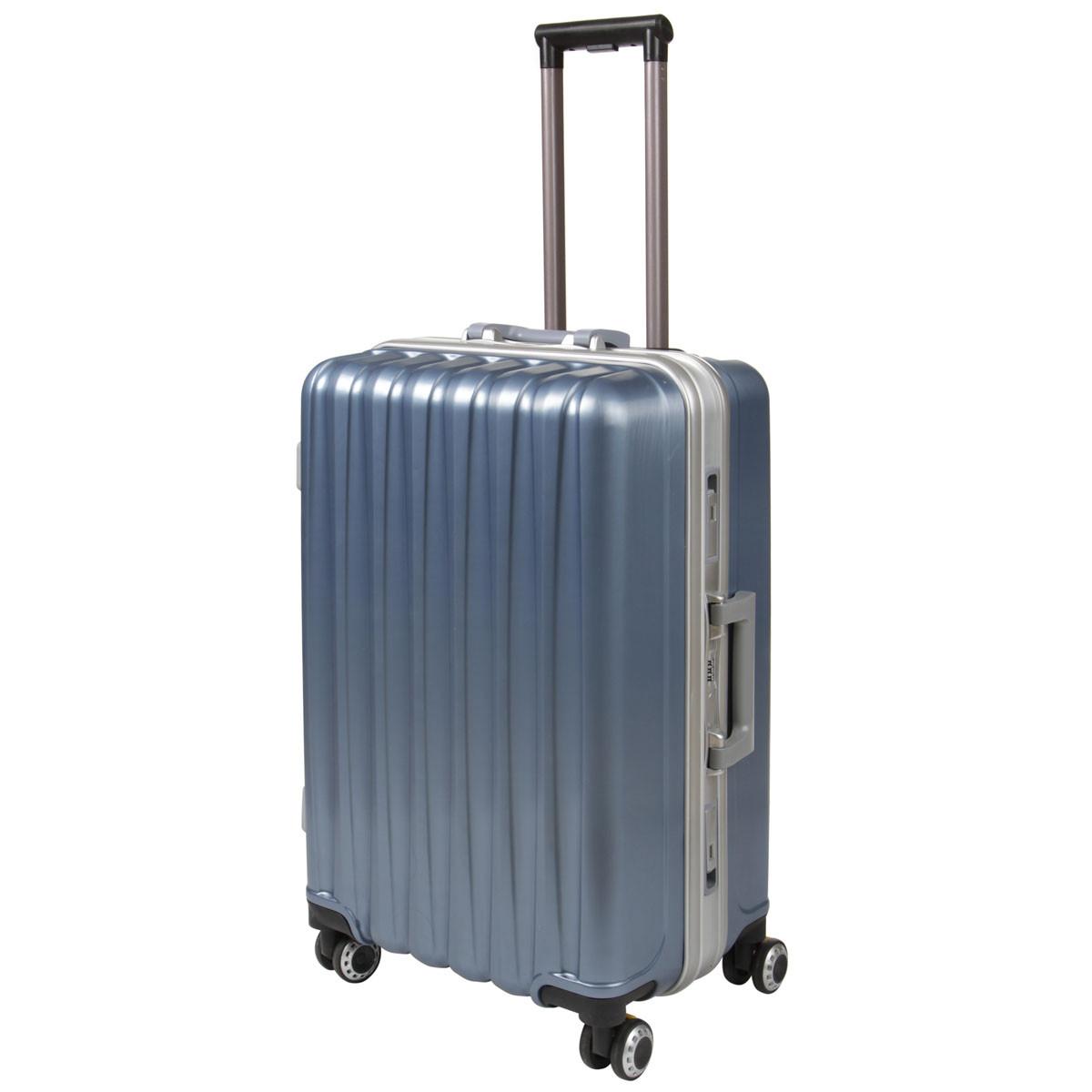 Чемодан BagHouse большой 4 колеса цвет серебристо-голубой 43х61х30 кс325бгол