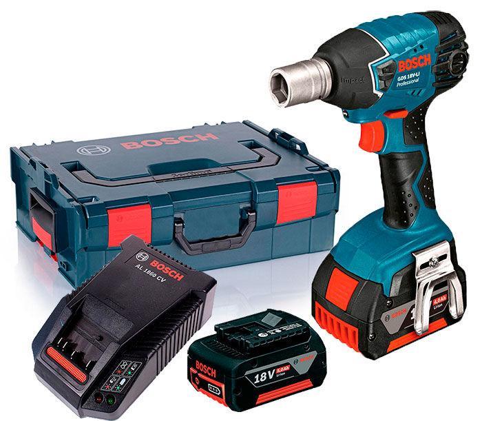 Аккумуляторный ударный гайковерт Bosch GDS 18 V-LI + з/у AL 1860 CV + 2 x акб GBA 18V 5.0 Ah + L-boxx (06019A1S0K)