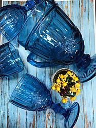 Набір 6 келихів з графіном з товстого синього скла Вікторі
