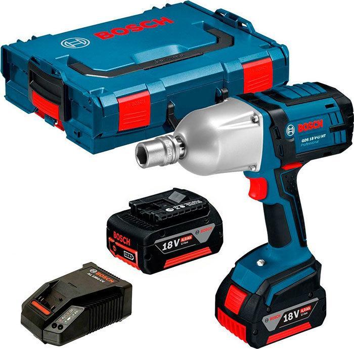 Аккумуляторный ударный гайковерт Bosch GDS 18 V-LI HT + з/у AL 1860 CV + 2 x акб GBA 18V 4.0 Ah + L-boxx (06019B130A)