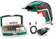 Аккумуляторный шуруповерт Bosch IXO + набор бит 32 шт (06039A800S)