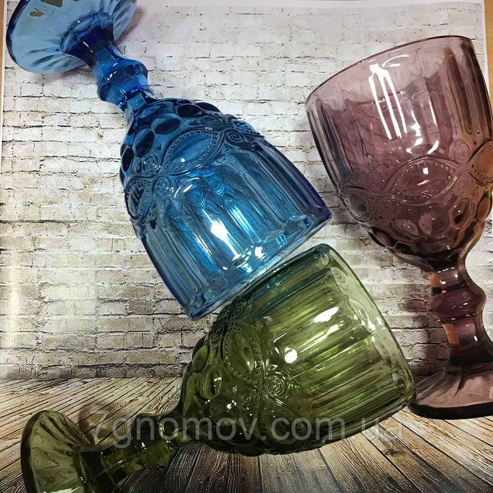 Набор 6 бокалов из цветного стекла Виктори 250 мл
