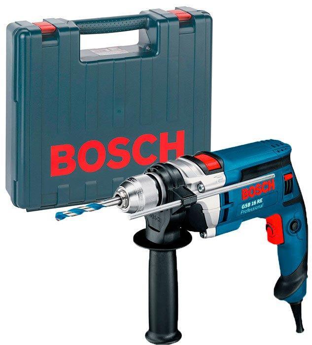 Дрель ударная Bosch GSB 16 RE + чемодан (060114E500)