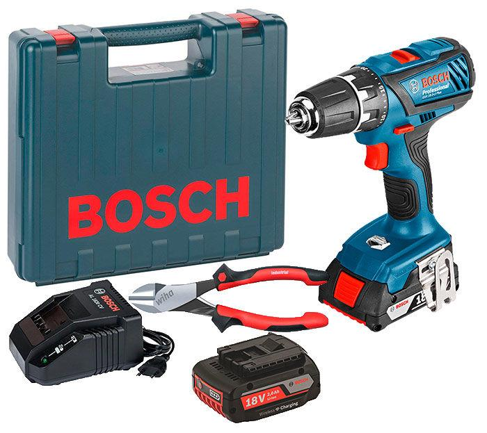 Дрель-шуруповерт Bosch GSR 18-2-LI Plus + з/у AL 1820 CV + 2 x акб GBA 18V 2Ah + чемодан + плоскогубцы Wiha (0615990K2P)