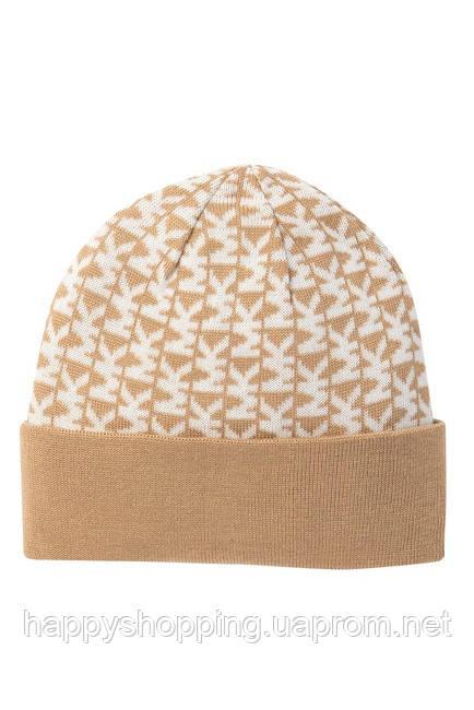 Женская стильная бежевая шапка  c лого популярного бренда Michael Kors