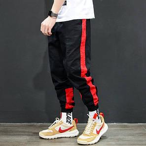 Мужские брюки джогеры с красным лампасом, фото 2