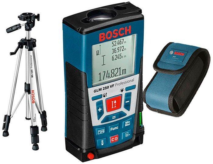 Лазерный дальномер Bosch GLM 250 VF + штатив Bosch BT 150 + чехол (061599402J)