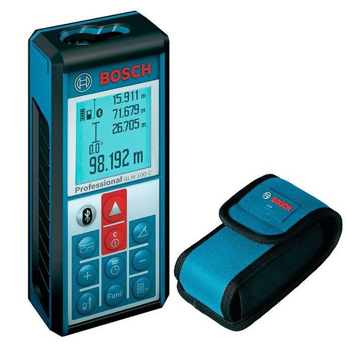 Лазерный дальномер с функцией Bluetooth Bosch GLM 100 C + чехол (0601072700)