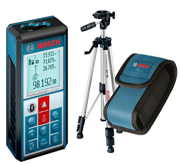 Лазерный дальномер с функцией Bluetooth Bosch GLM 150 C + штатив Bosch BT 150 + чехол (061599402H)