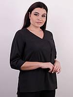 Блузка легкая Леона черный батал, фото 1