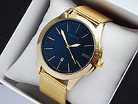 Кварцові наручні годинники GUCCI золотого кольору, кольчужний браслет, з датою, фото 1