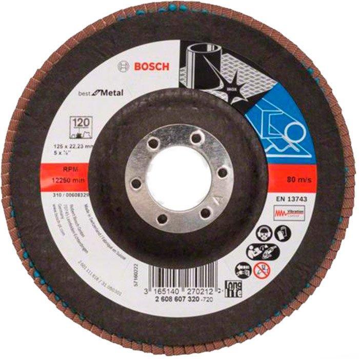 Лепестковый шлифкруг Bosch Best for Metal, X571, 12522,23 мм, К120 (2608607320)