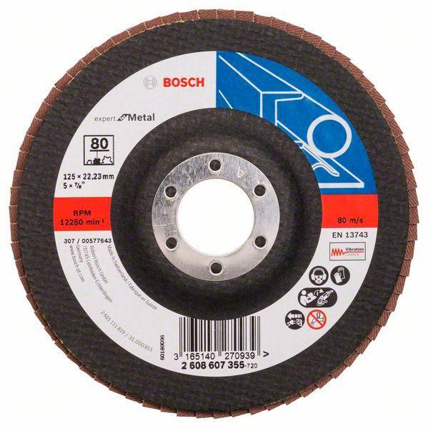 Лепестковый шлифкруг Bosch Prof for Metal, 12522,23 мм, К80 (2608607355)