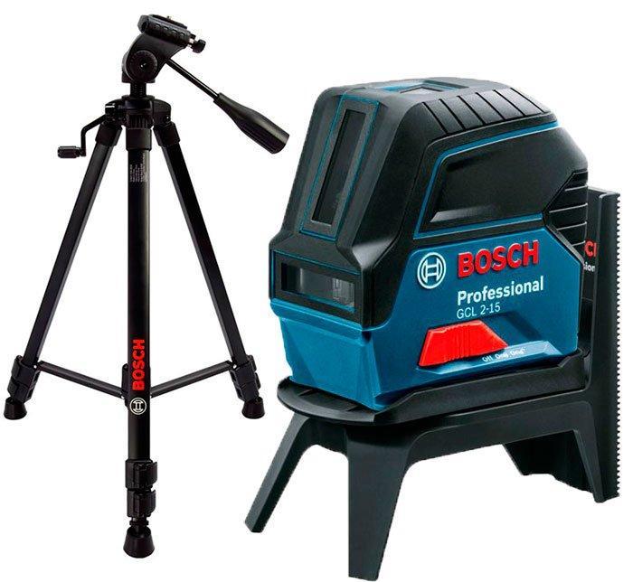 Линейный лазерный нивелир Bosch Professional GCL 2-15 + штатив BT 150 (0601066Е0D)