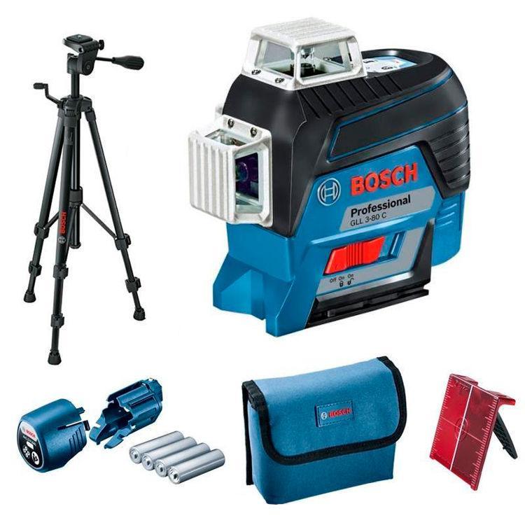Линейный лазерный нивелир Bosch Professional GLL 3-80 C + штатив Bosch BT 150 + чехол (0601063R01)
