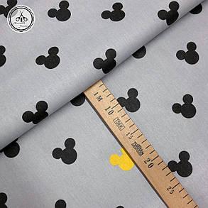 """Польская хлопковая ткань """"Микки маус черные, желтые на сером"""", фото 2"""