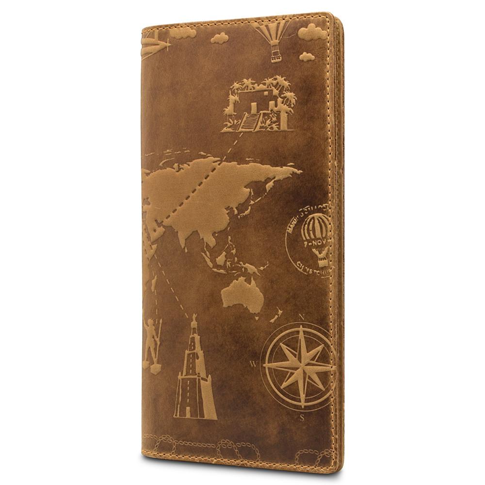 """Бумажник кожаный компактный для купюр и карт """"Shabby """"7 чудес света"""". Цвет рыжий"""
