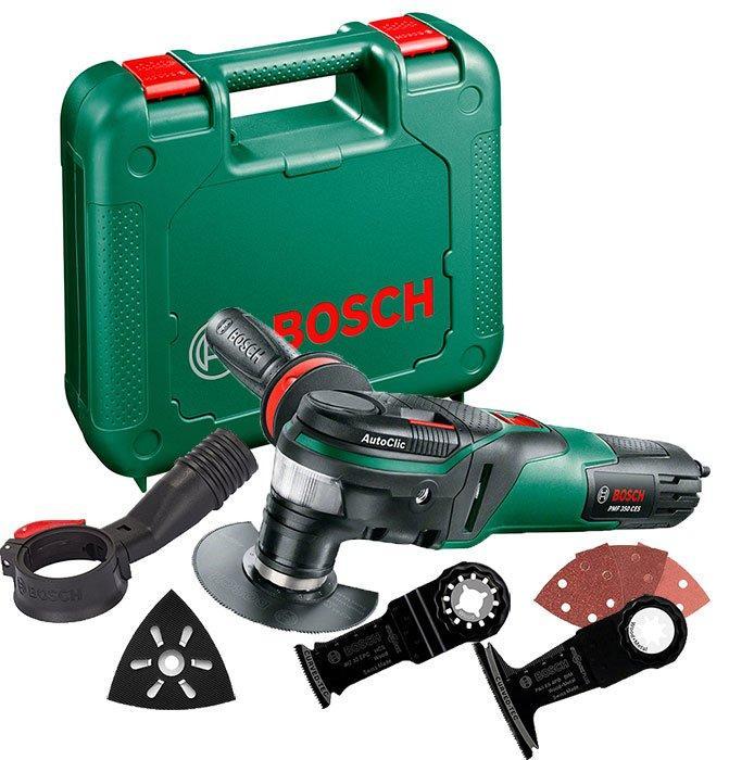 Многофункциональный инструмент Bosch PMF 350 CES + насадки + ручка + чемодан (0603102220)