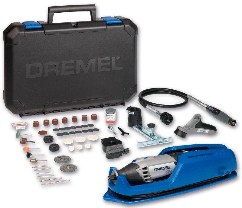 Многофункциональный инструмент Dremel 4000 +65 насадок + 4 приспособления + чемодан  + патрон 4486 + сверла (F0134000LW)