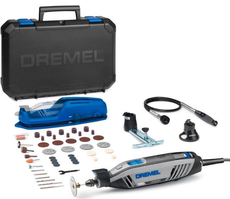 Многофункциональный инструмент Dremel 4300 + чемодан + 3 приспособления + 45 насадок (F0134300JD)