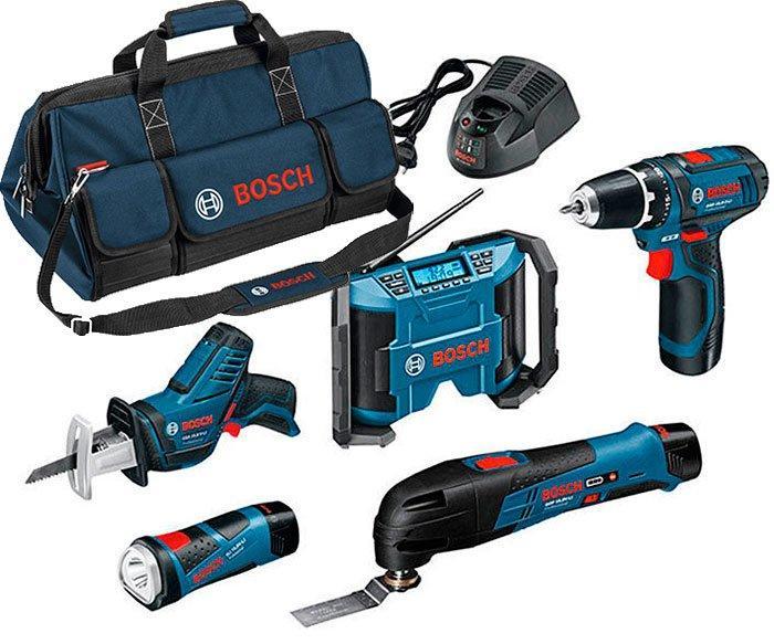 Набор Bosch GSR 12V-15+GSA 12V-14+GOP 12V-28+GPB 12V-10+GLI 12V-80+з/у GAL 1230 CV+2 x акб GBA 12V 2 Ah (0615990GF0)
