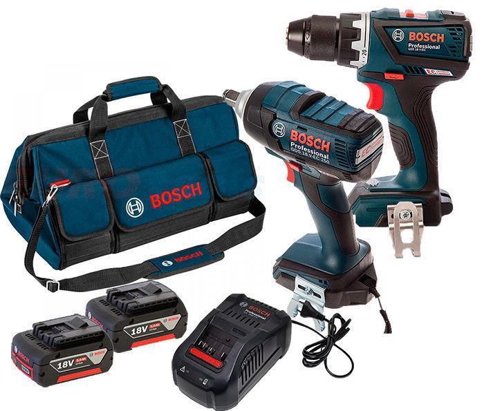Набор Bosch гайковерт GDS 18 V-EC 250 + шуруповерт GSR 18 V-EC + з/у AL 1880 CV + 2 x акб GBA 18V 5 Ah (06019E81GG)