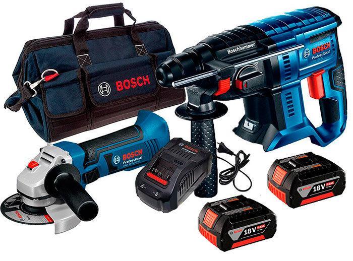 Набор Bosch перфоратор GBH 180-Li + УШМ GWS 18-125 V-LI + з/у AL 1860 CV + 2 x акб GBA 18V 5 Ah + сумка (060193A3BK)