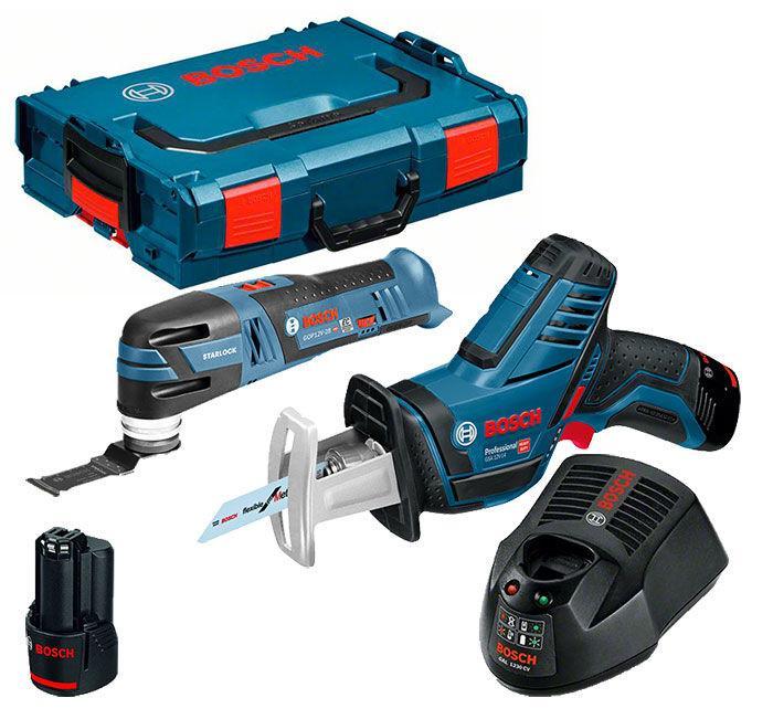 Набор Bosch Professional реноватор GOP 12V-28 + пила GSA 12V-14, GAL 1230CV, 2 GBA 12V 2Ah + чемодан L-boxx (06018B50GG)