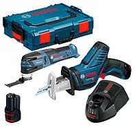 Набор Bosch реноватор GOP 12V-28 + пила GSA 12V-14  з/у GAL 1230 CV + 2 x акб GBA 12V 2 Ah + чемодан L-boxx (06018B50GG)