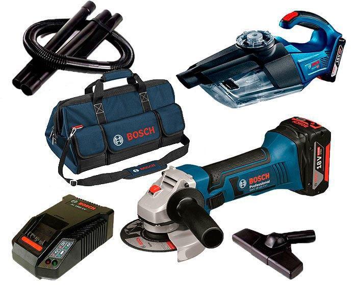 Набор Bosch Professional УШМ GWS 18-125 V-Li + пылесос GAS 18V-1  з/у AL 1860 CV + 2 x GBA 18V 5Ah + сумка (060193A3BP)