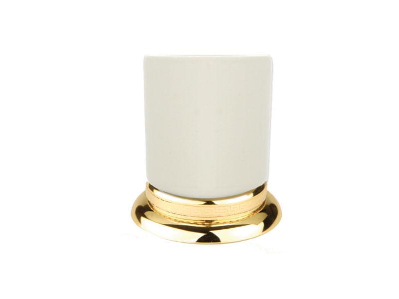 Стакан для зубных щеток настольный KUGU Versace Freestand (Керамика/Золото)