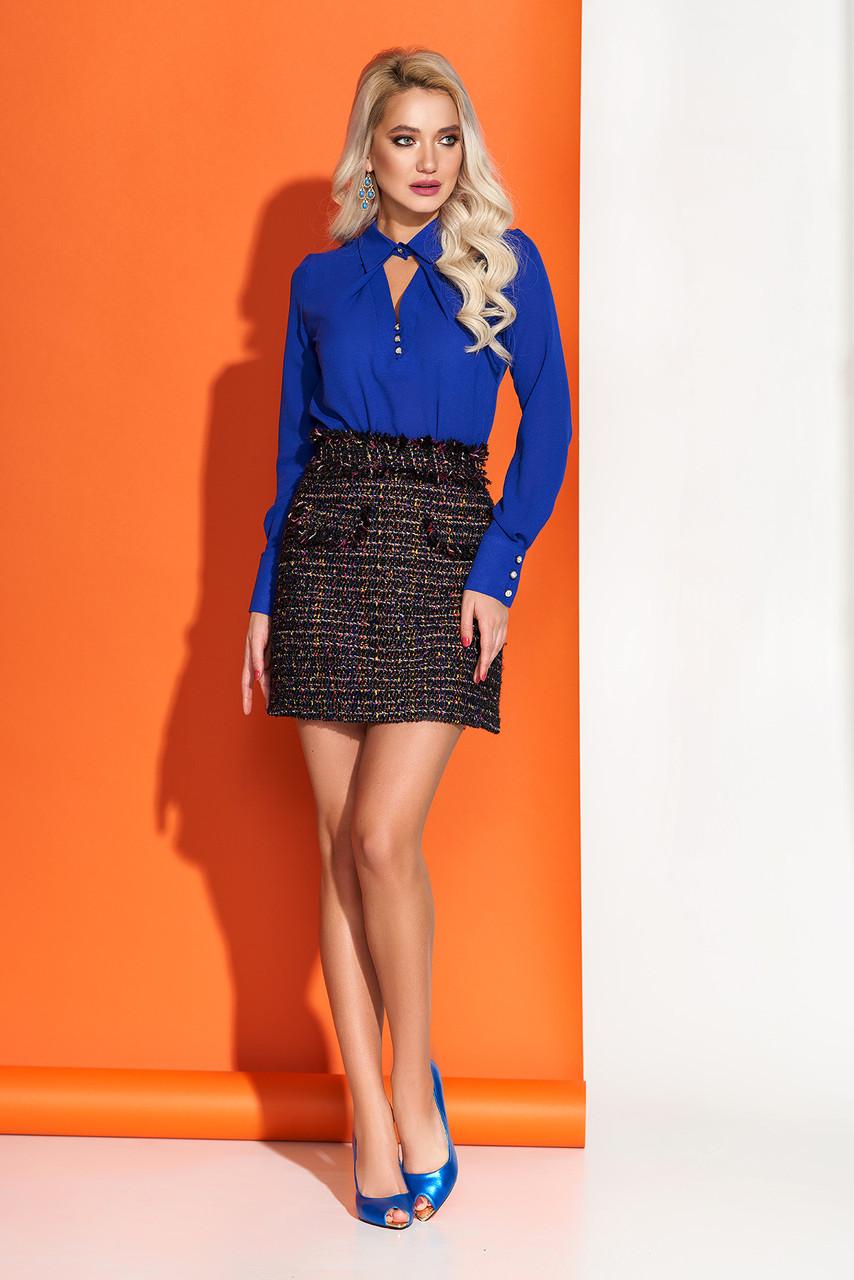Шифоновая блузка с отложным воротником синяя