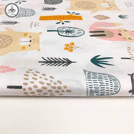 """Польская хлопковая ткань """"звери в лесу на белом"""", фото 2"""