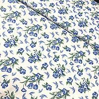 Ситец с голубыми цветочками на белом фоне, ширина 95 см, фото 1