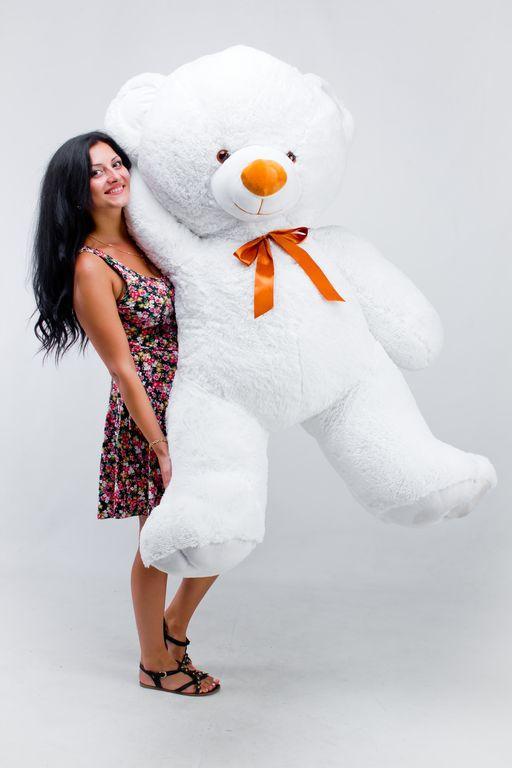 Большой плюшевый медведь Томми белый  (190 см)