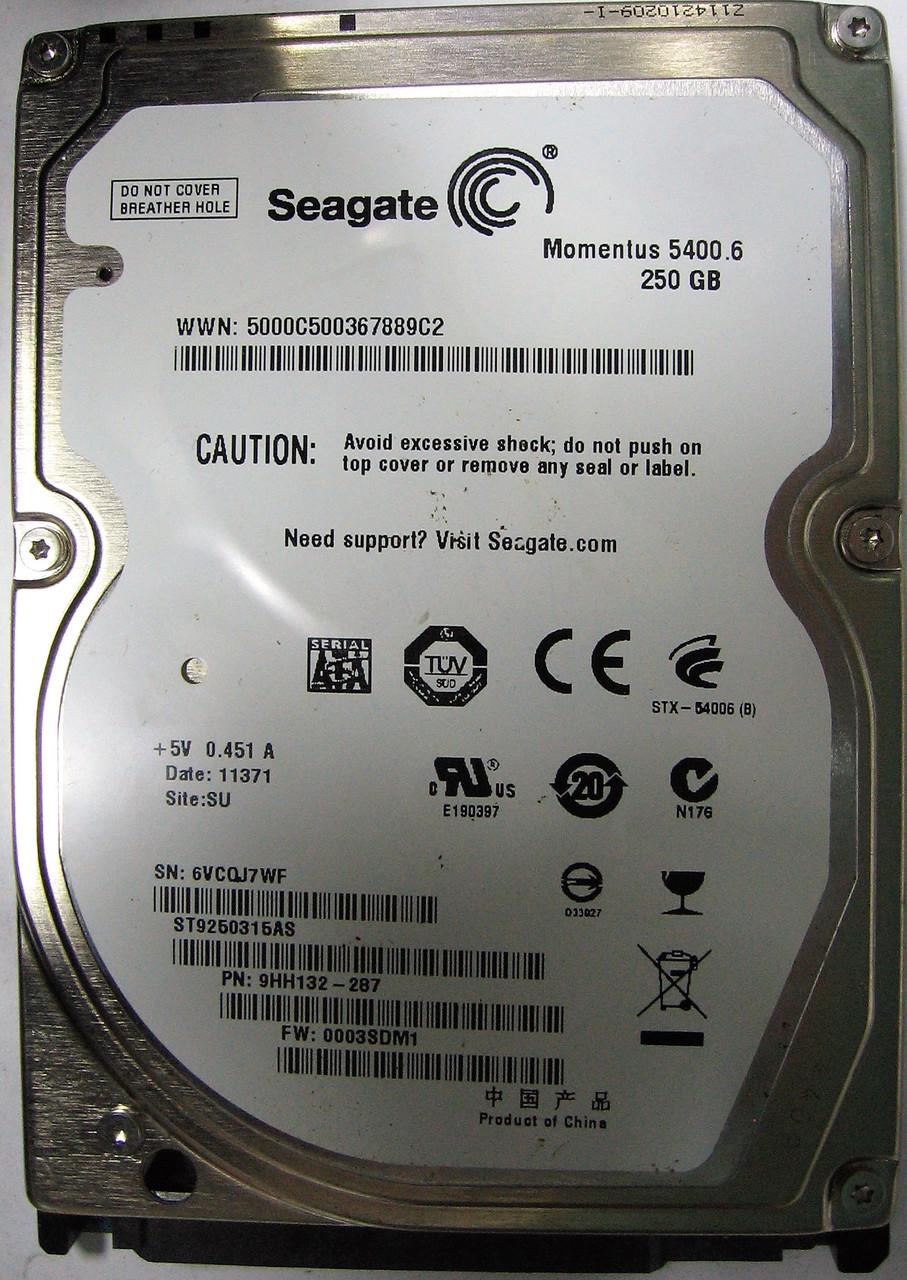 Жесткий диск HDD 250GB 5400rpm 8MB SATA II 2.5 Seagate ST9250315AS уценка 6VCQJ7WF
