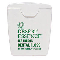 Desert Essence, Зубная нить с маслом чайного дерева, с восковым покрытием, 50 ярдов (45,7 м)