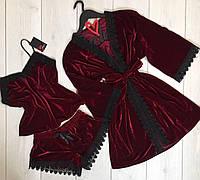 Роскошный бархатный комплект с кружевом халат+майка+шорты, бордовый.