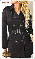 Пальто женское весенние черного цвета