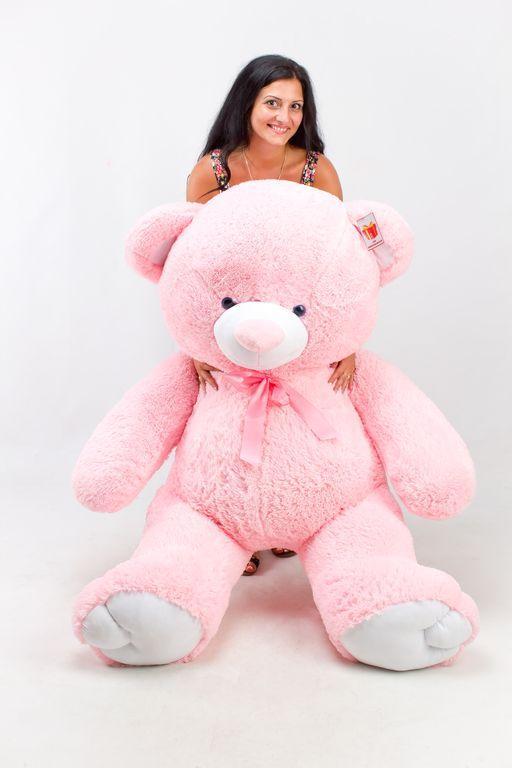 Большой плюшевый медведь Томми розовый  (190 см)