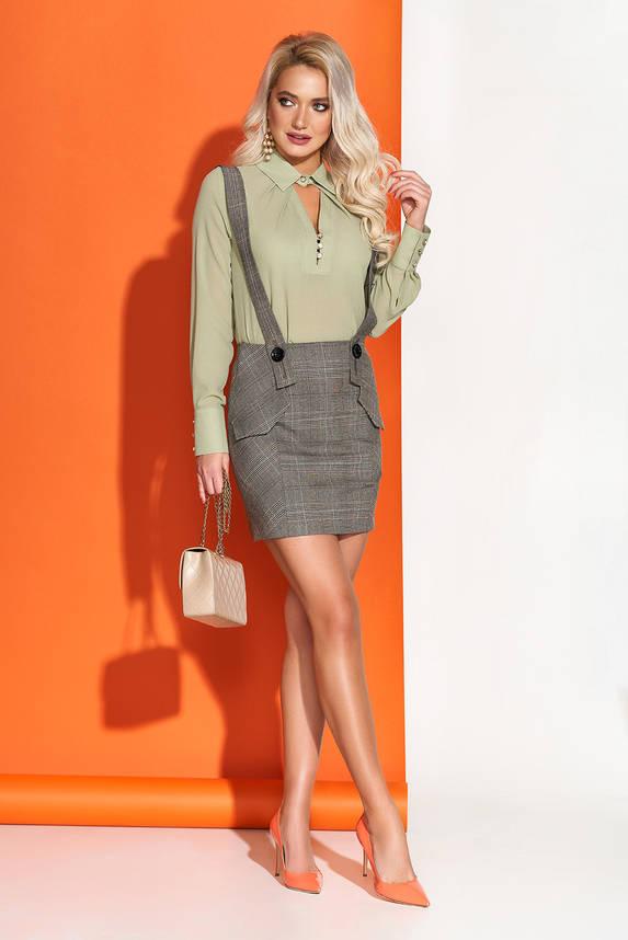 Нарядная блузка шифоновая с отложным воротником оливковая, фото 2