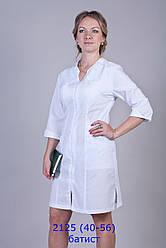 Жіночий медичний білий халат на блискавці, рукава 3/4, батист, 40-56