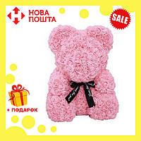 Красивый мишка из латексных 3D роз 40 см с лентой в подарочной коробке | Пудра