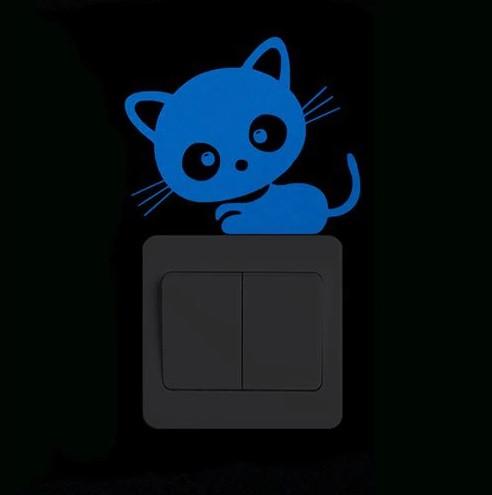 """Люмінесцентна наклейка """"Кіт"""" - розмір 10*10см (вбирає світло і світиться в темряві)"""