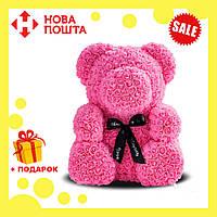 Красивый мишка из латексных 3D роз 25 см с лентой в подарочной коробке | Розовый