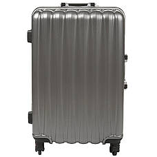 Чемодан пластиковый малый 36х51х24 тёмно-серый 4 колеса  кс325мтсер, фото 3