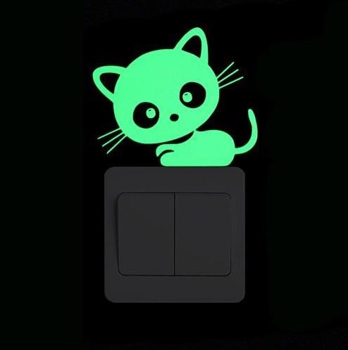 """Фосфорна наклейка """"Кіт"""", чорний, розмір 10*10см (вбирає світло і світиться в темряві)"""