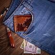 """Затиск для грошей шкіряний універсальний на кнопці Crystal """"7 чудес світу"""". Колір рудий, фото 6"""